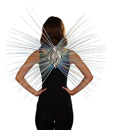 Strahlen-Flügel in metallic silber | Einheitsgröße Erwachsene | (Kostüm Silber Weltraum)