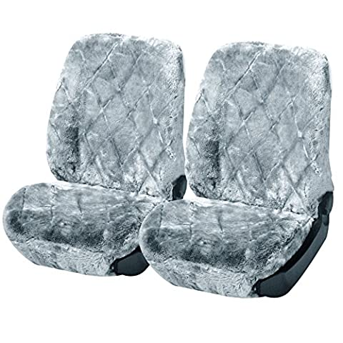2 x Lammfellbezug Auto Sitzbezug Echtlammfell universal Vollbezug Vordersitzbezug Silber