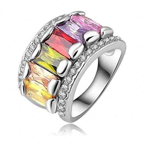 Daesar Vergoldet Ringe Damen Rechteck Zirkonia Ring Strass Verlobungsring Stein Ring Größe: 60 (19.1)