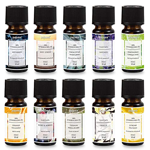 Pajoma Duftöl Set für Duftlampe, Diffuser, Aromatherapie, 10 x 10 ml -
