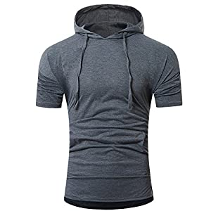 EUZeo Einfarbige Kurzarm Kapuzen T-Shirts für Herren Casual Drawstring Kurzärmelig Kapuzenpullover Sommer Hoodies Slim Fit Pulli Hemden