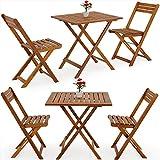 Deuba Gartenmöbel, faltbar, Bistrotisch mit zwei Stühlen und einem Tisch aus Akazienholz