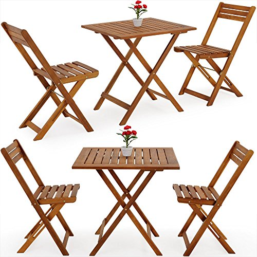 Deuba 101168 Table Chair Wooden Balcony Set - 60x60cm