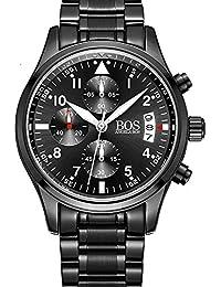Bos hommes de sport montre à quartz Pointeur lumineux cadran noir chronographe bracelet en acier inoxydable (White)