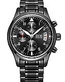 BOS Herren Schwarze Military Chronograph Casual Quarz - Uhr Coole