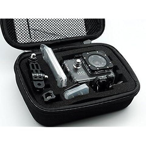 QUMOX Bolsa de accesorios de almacenamiento de Protección Pequeño Estuche del recorrido para QUMOX SJ4000 / wifi SJ4000 / GoPro (Negra, Pequeña)