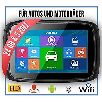 "5/"" Motorrad GPS Navigation Auto Navigationsgerät Bluetooth WIFI Maps Android 6.0"