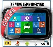 Elebest Rider A5 Navigationsgerät Motorrad - inkl. Halterung und Ladekabel, 5 Zoll Display Touchscreen Wasserdicht, 24 GB Sp