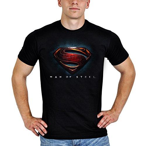 Superman - T shirt - Logo di Man of Steel - L'Uomo di Acciaio - Girocollo con stampa - Nera - S