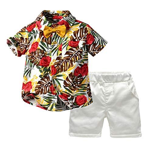 LEXUPE Kleinkind Baby Boy Kurzarm Fliege Gentleman Leaf T-Shirt Tops + Shorts Outfits(Rot,90)