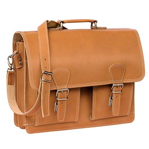 Klassische Aktentasche/Lehrertasche Größe L aus Leder, für Damen und Herren, Cognac-Braun, Hamosons 600 (Leder 600)