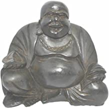 12 cm, misura media, colore: nero, in legno, grande, in resina, motivo: Lucky Laughing Buddha Statua del ventre, commercio equo e solidale - Laughing Buddha