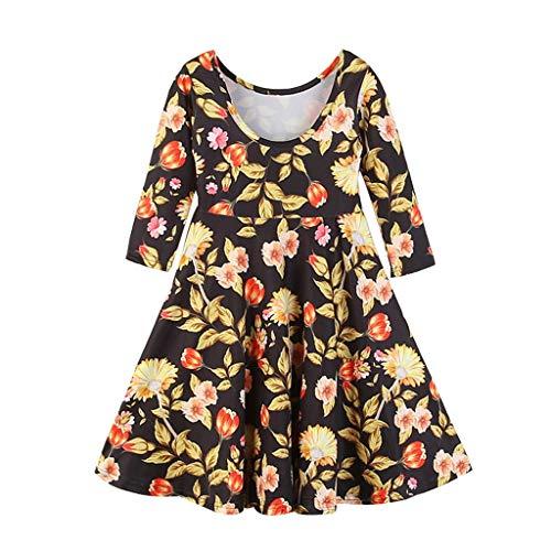 JERFER Baby Mädchen Blumen Prinzessin Kleid Rückenfrei Sommerkleid (1960 Kind Blume)