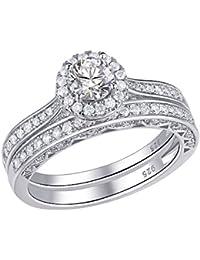 Juego de anillos de compromiso de plata de ley 925 con zirconia cúbica redonda de 2