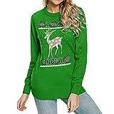 Btruely Sweatshirt Damen Groß Größe T-Shirt Loose Fit Langarmshirt Winter Pullover Weihnachten Gedruckt Sweater Langarm Outwears
