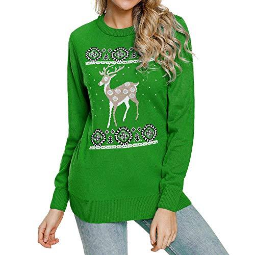 Christmas Damen Pullover UFODB Elegant Frauen Weihnachtspullover Weihnachten Xmas Print Sweatshirt Shirt Ladies Sport Winterpullover Freizeit Sweater Bluse ()