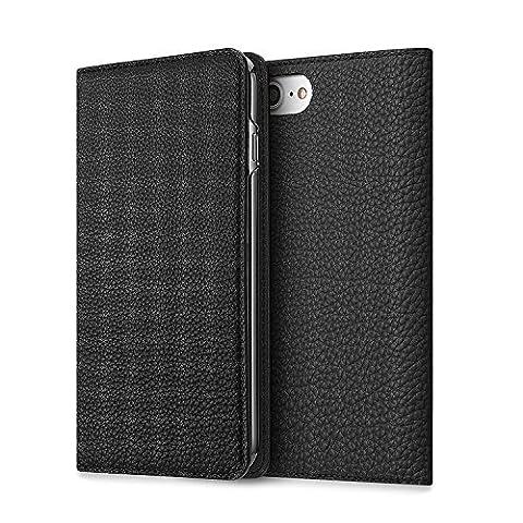 BONAVENTURA iPhone 8 Plus / 7 Plus Echtleder Tasche (Kalbs-Vollleder aus Deutschland) mit Kartenschlitz | BONAVENTURA Luxury Leather iPhone Cover Case [iPhone 8 Plus / 7 Plus, Schwarz]