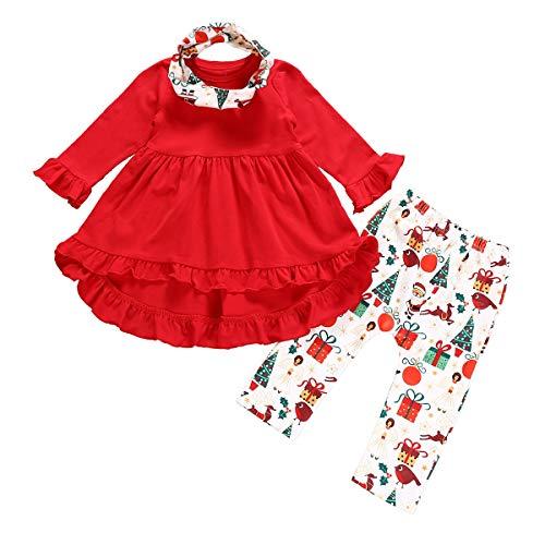 Yonimu Weihnachten Outfit Rüschen Ärmel Schwanz Kleid + Weihnachtsmann Hosen + Stirnband für Kleinkind Mädchen, Boutique Weihnachten Kleidung für Kind Baby (Color : Red, Size : 4T-5T)