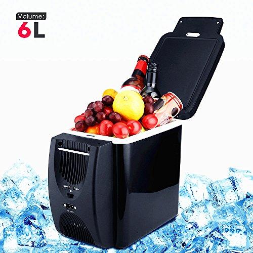 PARAMITA Refrigerador de coche 12V 6L&7.5L Capacidad Camping Cool Box Refrigerador portátil para el automóvil Refrigerador y calentador Refrigerador eléctrico para el carro del viaje del carro del coche (Negro -6L)