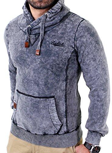 Reslad Herren Dirty Vintage Style Kapuzen Pullover Hoody RS-1151 Anthrazit XL (Diesel-baumwoll-polo-shirt)