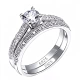 Autiga Edler Damen-Ring mit Zirkonia Stein, Verlobungsring, Solitär-Ring, Bandring mit Vorsteckring, 925 Sterling Silber Silber 55 - Ø 17,45 mm