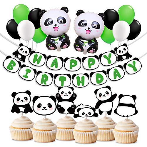 KREATWOW Panda Party Dekorationen gehören Panda Mylar Balloons, Latex Ballons, Alles Gute zum Geburtstag Banner, Cupcake Toppers für Panda Geburtstag Party Baby Shower