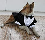 #5: Large Dog Wedding tuxedo with bowtie cotton dogs formal party suit clothes (black, XL)