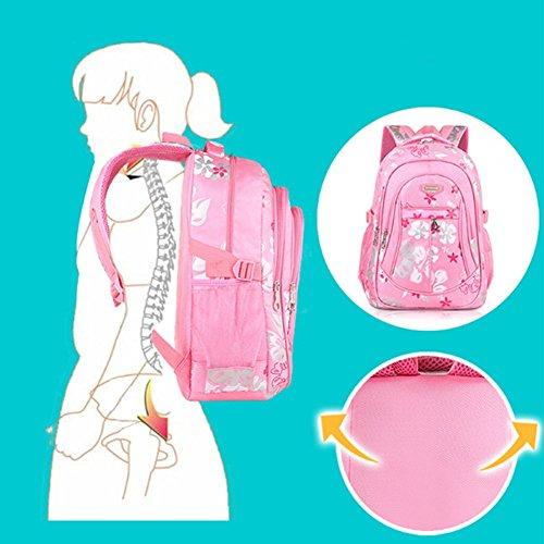 YAAGLE Schultasche Mädchen sport Schulrucksack praktisch kinderrucksack süß Blumen Schule Tasche aus Nylon mehrfarbig lässig Daypack schwarz(groß)