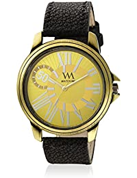 Watch Me Gold Color Black Leather Strap Watch For Boys WMAL-269