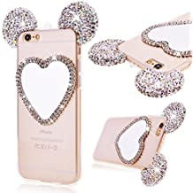 iPhone 6 Plus 6S plus Cover, GrandEver Gel TPU Silicone Modbido Trasparente Clear Custodia Cristallo Bling Strass Glitter Soft Case con Amore Specchio, Flexible Protettiva Antiurto Anti Scivolo Copertura per Apple iPhone 6 Plus / 6S Plus 5.5