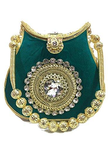Green velvet Bridal marriage clutch bag metal Handbag purse Crystal,Rhinestones party (Clutch Purse Velvet)