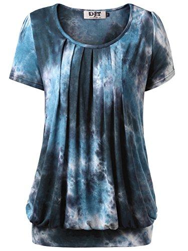 DJT Damen Casual Falten Kurzarm T-Shirt mit Stretch Rundkragen Blau-4 L