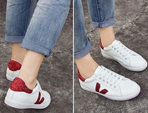 Pattini casuali respirabili di estate i pattini di modo piccoli bianchi stili di stile coreano scarpe eleganti per le donne Red