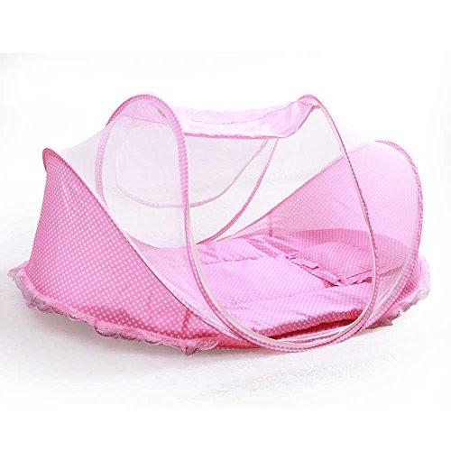 CHANG Moskitonetz mit Krippe, Faltbares Tragbares Baby-Reise-Bett, 0-3 Jähriges Kind-Zelt 43.3 * 25.6 * 19.6 Zoll,Pink