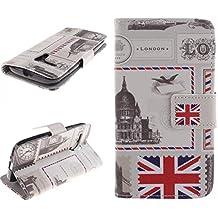 Dokpav® Moto G Funda,Ultra Slim Delgado Flip PU Cuero Cover Case para Moto G 1 ª Generación con Interiores Slip compartimentos para tarjetas-Sobre Londres