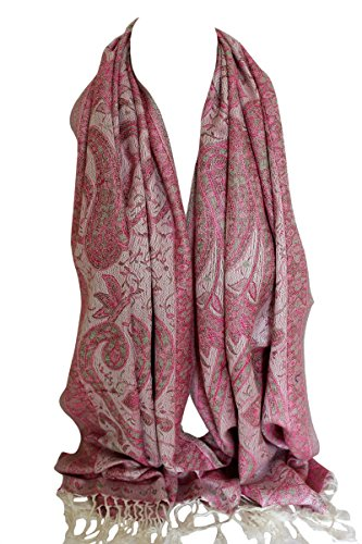 Floral Print Schal (Schöne Paisley & Floral Print selbst Prägung Pashmina Gefühl Wrap Schal Stola Schal-Hijab (Weiß Rosa))