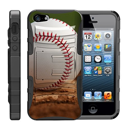 turtlearmor | Kompatibel für Apple iPhone SE Fall | iPhone 5/5S Fall [Hyper Schock] Armor Massiv Ständer Auswirkungen Silikon Holster Clip Sport Video Spiele Design -, Baseball Dirt (Baseball Iphone 4 Fall)