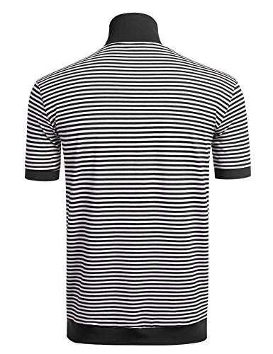 Modfine Polo Poloshirt Herren Gestreift Kurzarm Men Herren Polo Sport Shirt Slim Fit A-2-Schwarz