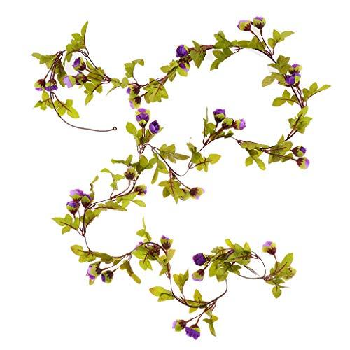 Homyl Künstliche Rosen Blumengirlande Blumenranke Blumenkette als Wohnkultur und Fotografie Requisiten, aus Stoff - Lila