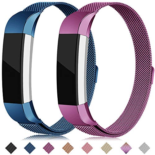 Onedream Kompatibel für Fitbit Alta HR Ace Armband Metall Edelstahl S L Blau Lila Ersatzarmband