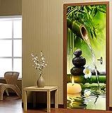 LXHLXN Fai da Te 3D Verde bambù scenografia Adesivi per Porte in PVC Creativo Autoadesivo Soggiorno Adesivo murale Muro Poster Poster Wallpaper
