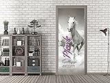 GRAZDesign Fototapete Tür Pferde - Türposter selbstklebend Schwarz Weiß - Türbild Pferd-Motiv - Türtapete für Kinderzimmer / 92x213cm / 791600_92x213