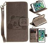 CLM-Tech Hülle für Apple iPhone 7 / 8 Wallet Case Tasche Kunstleder - Handy Schutzhülle mit Standfunktion Kartenfach und Handschlaufe Flip Cover - Bookstyle Flipcase Panda Muster grau