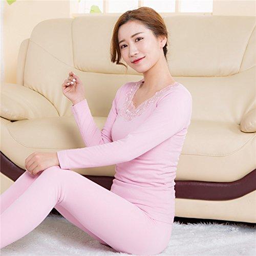 llpxcc biancheria intima termica traspirante da donna abbigliamento pizzo inverno, Light Pink, F Light Pink