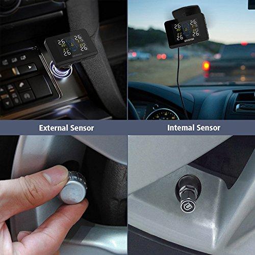 ERAYAK TPMS Reifendruckkontrollsystem Auto Reifendruckmesser System mit 4 Sensor, LCD- Saugnapf, Reifendruck- und Temperatur Genau Zeigen (Interner Sensor)