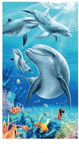 Strand Handtücher Extra Large 100x 180cm Mikrofaser für Damen und Herren ideal für Swim Spa Reise Yoga Sport Camping Solarium, Bad oder Dusche Home Tier- und Stripe Print (10Muster) Dolphins 4-2b