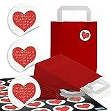 10 kleine rote Papiertüten Boden Papiertaschen Henkel 18 x 8 x 22 cm + 24 rot weiße HERZ-Aufkleber 4 cm Schrift Geschenktüten Verpackung für give-away Mitgebsel Hochzeit Valentinstag