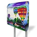 banjado - Briefkasten mit Edelstahl Ständer 38x150x12cm Postkasten mit Motiv Ballons In Lila Wolken