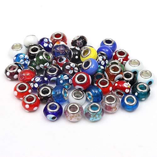 50 Teiliges Großes Set aus Runden Murano Glasperlen in Verschiedenen Designs von Kurtzy - 14mm Kleines Perlen Set für Schmuckherstellung, Halsbänder und Armbänder - Große Perlen Mehrfarbiges Sortiment -