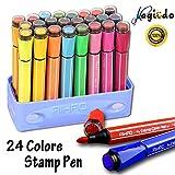 Magicdo® 24penne ad acquerello con timbri, pennarelli non tossici e lavabili per bambini e adulti, ideai per album da colorare, disegni, scarabocchi Blue